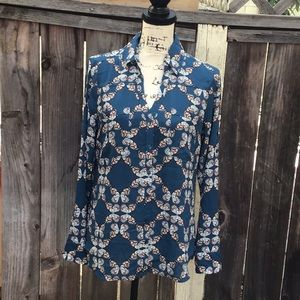 NWT. Abstract Butterfly Print Portofino Shirt